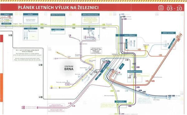 Plán letných výluk / Zdroj: České dráhy