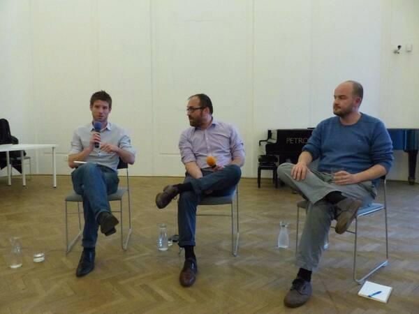 Členovia Progresívneho Slovenska:(zľava) Michal Šimečka, Radovan Pala a Martin Dubéci. FOTO: Maša Kalčoková